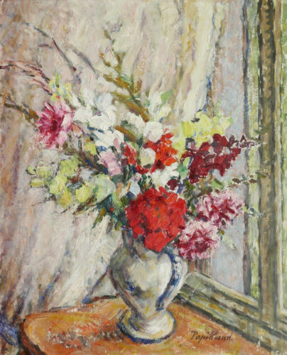 Marcelle PAPILLAUD oil painting Oil art tan still life flowers window fauvism