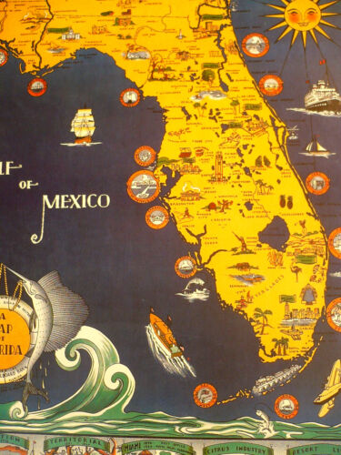 LITHOGRAPH PRINT ART DECO PICTURE MAP OF FLORIDA, 1935