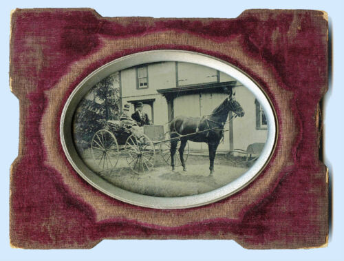 HALF PLATE OUTDOOR TINTYPE PHOTO OF A COUPLE SITTING IN HORSE CARRIAGE & FRAMED