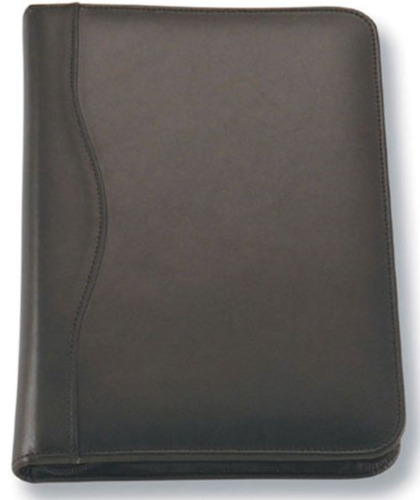 1 x A5 Black Zippered Compendium Genuine Leather Brand New Fast del Aust Wide