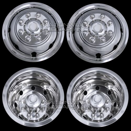 4 Ford 16&quot; Dual Wheel Simulators Hub Caps Full Rim Skins Deep Dish Domed Covers <br/> FREE SHIPPING - SNAP ON - DEEP DISH REAR &amp; DOMED FRONT