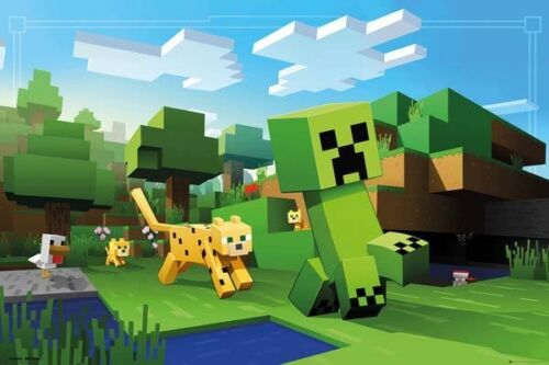 MINECRAFT OCELOT CHASE POSTER (91x61cm)  NEW WALL ART