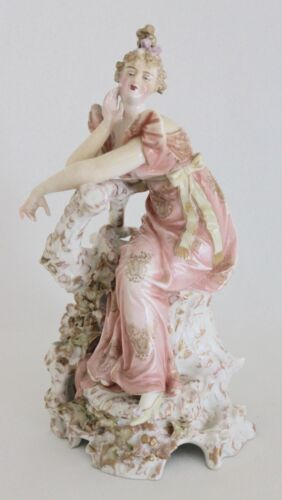 Early 19th C. French Empire Style Coquettish Lady Porcelain Figurine  Signed<br/>Figurines - 63526
