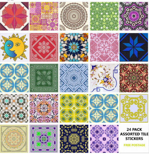 """4"""" or 6"""" 24 Pack Moroccan Tile Sticker Decal Kitchen Bathroom Self Adhesive TP66"""