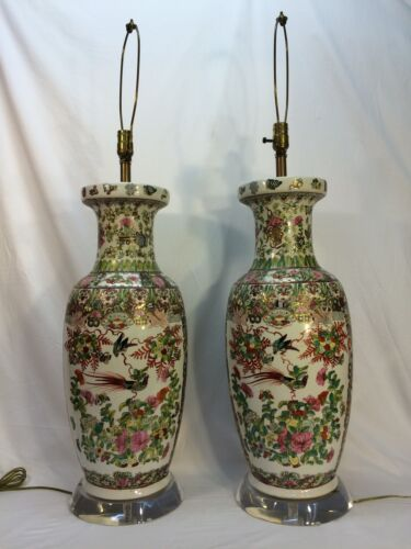 Pair Signed Vintage 24&quot; Chinese Porcelain Hand Painted Enamel Vases Lamps<br/>Vases - 37933