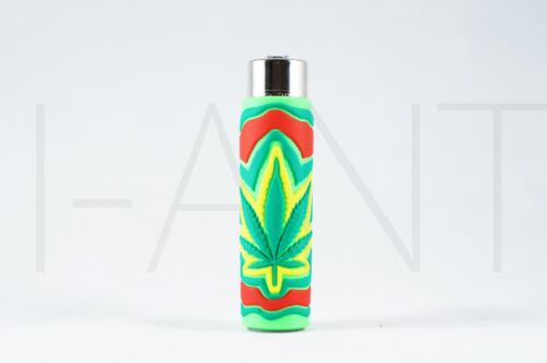 1x Clipper Leaves Refillable Full Size Lighter With Rubber Cover Green Blue