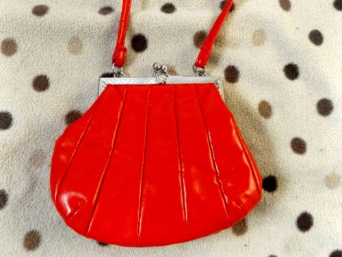 RED FAUX LEATHER SMALL SHOULDER CROSS BODY BAG PARTY