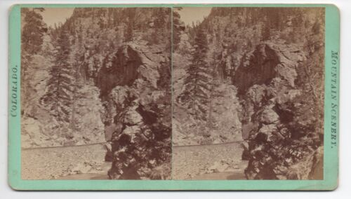1880s Colorado Central Railroad Stereoview by Chamberlain of Clear Creek Canyon