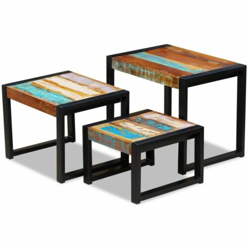 vidaXL 3pc Recycled Timber Nesting Side Coffee Table Lamp Nightstand Vintage