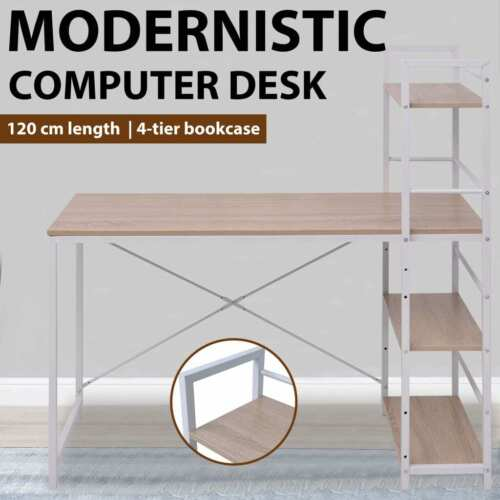 vidaXL Computer Desk Student Study Table with Bookcase Storage Shelf Office Home