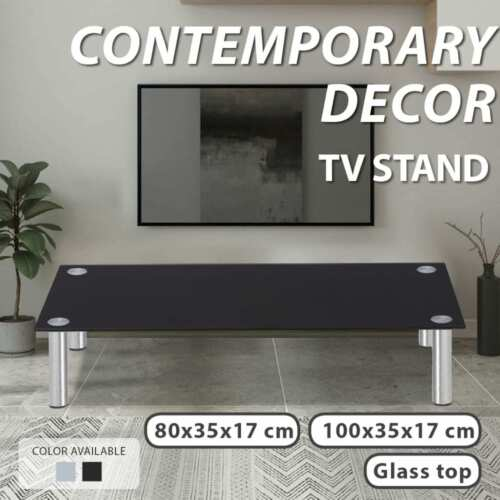 vidaXL Desktop Monitor Riser TV Stand Display Shelf Side Table 80/100cm Glass