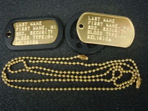 BRASS U.S. MILITARY DOG TAGS CUSTOM EMBOSSED WITH YOUR INFORMATION MADE-IN-USA Dog Tags - 156462