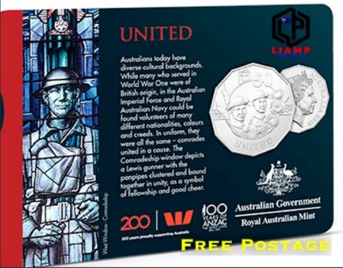 HERALD SUN 2018 Anzac Coin Collection: UNITED 50 CENTS