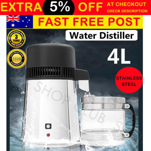 Water Distiller 4L Pure Water 304 Stainless Steel Purifier Filter With Glass Jar