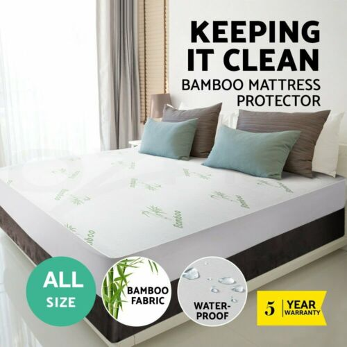 Luxury Bamboo Mattress Bed Matress Protector Waterproof Single King Queen Double <br/> 100% Bamboo - Waterproof - Soft Touch - Anti-Bacterial