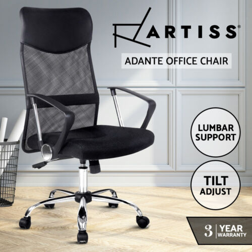 New Executive High Back Mesh Computer Desk Office Chair PU Leather Tilt Black <br/> 20% off with code POTPLANT. Ends 29/10. T&amp;Cs apply.