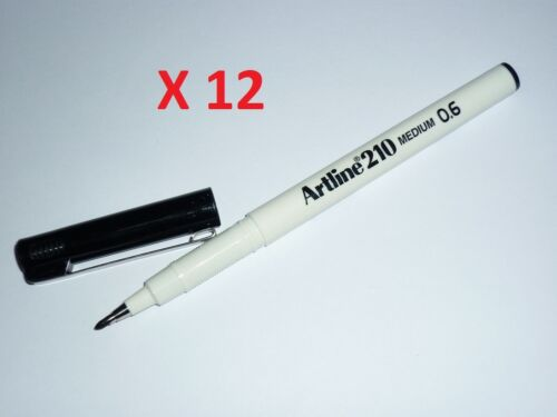 Artline 210 writing pen 0.6mm Medium BLACK EK-210 FINELINER PEN Box of 12 filt
