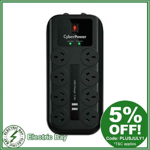CyberPower 8 Port 8 way Surge Protector Protection Power Board 2 x USB Port