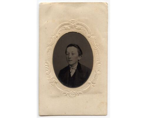 JUNE 16, 1889, YOUNG MAN IN NICE SUIT BY CUMMINGS, LANCASTER, PA, TINTYPE
