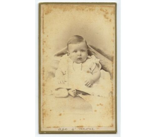 ANTIQUE CDV PORTRAIT OF A BABY AT 5 MONTHS AGE FROM LINCOLN, ILLINOIS, STUDIO