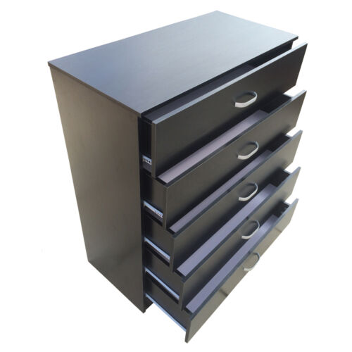 Chest of Drawers 5 Black  **AntiBowing Drawer Support** Bedroom Redstone <br/> **UK LTD Co. + ANTI-BOWING** + Metal Handles + Runners