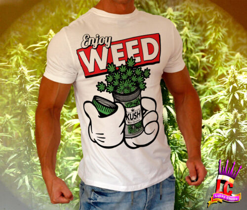 Enjoy Weed T-shirt 2015 summer Dope Ganja Chillout Swag Music