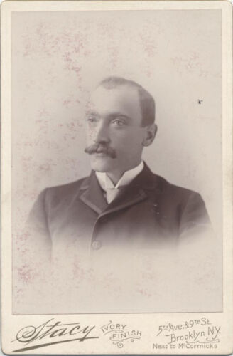 CABINET CARD, OLDER GENTLEMAN WITH A LONG MUSTACHE. BROOKLYN NY.
