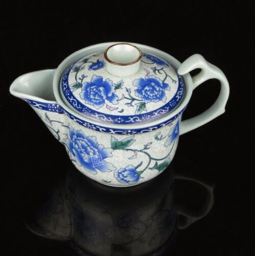 Large ceramic kung fu tea cup blue peony flower pot with strainer bowl clutch<br/>Teapots - 162965