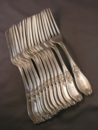 12 Antique Sterling Tiffany Lg Dinner Forks Devil Ram Head Hebbard Design1862<br/>Flatware & Silverware - 20104