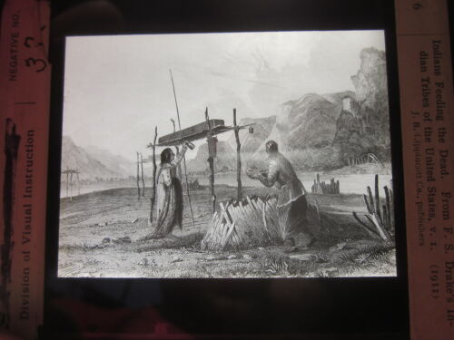 1911 Indians Feeding the Dead from FS Drake's Indian Tribes glass photo slide