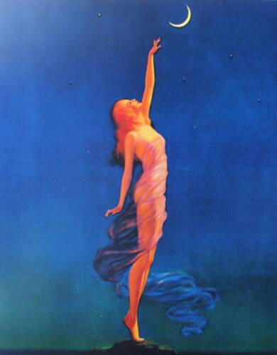 Lady reaching for the Moon Vintage art by Edward Eggleston<br/>Prints - 360