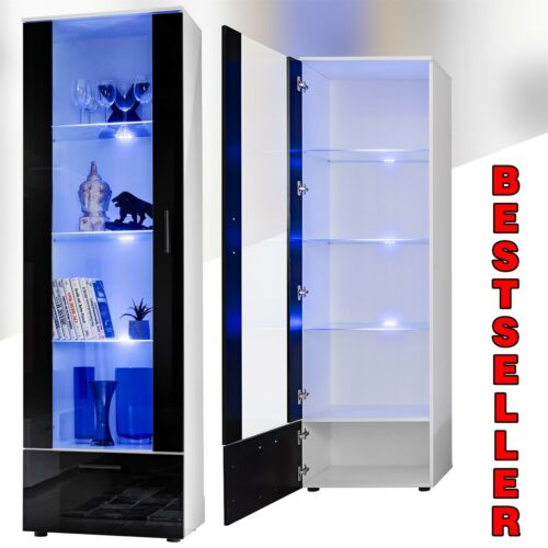 ⭐⭐⭐Tall Display Cabinet High Gloss White Glass Shelves Furniture Modern 192cm⭐⭐⭐ <br/> ✔3 point LEDs ✔Free&amp;Fast Delivery ✔Instock ✔800++ SOLD