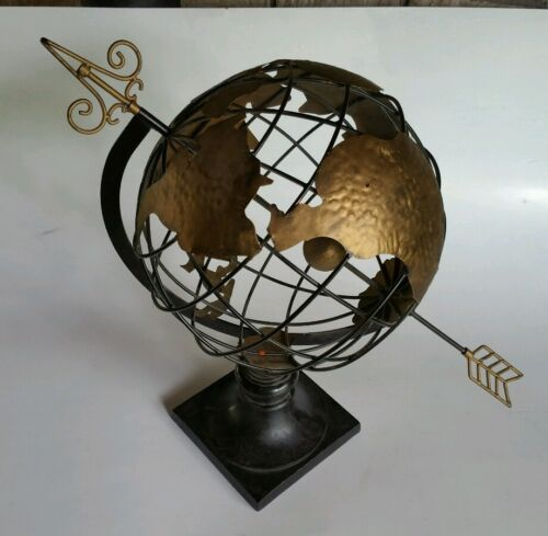 "World Globe Metal Cast Iron Heavy Base-Stands 21"" Tall-Very Nice!"