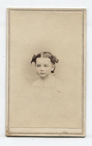 CIVIL WAR ERA CDV TAX STAMP. VERY PRETTY LITTLE GIRL TINTED CHEEKS. PHILA, PA.
