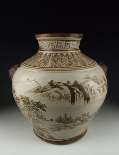 Chinese Antique Jizhou Ware Porcelain Vase with landscape scene<br/>Plates - 37928