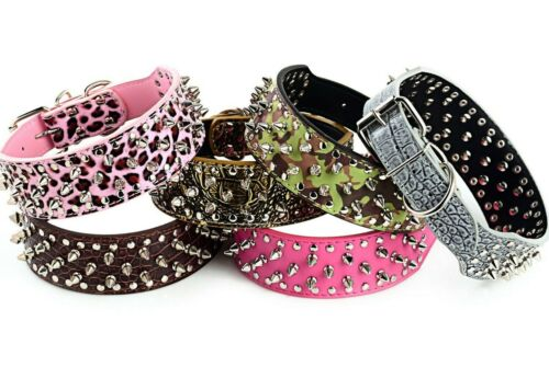 Spiked Studded Rivet PU Leather Dog Collar Pit Bull BLACK L XL FOR LARGE BREEDS <br/> SAME DAY SHIPPING!   U.S.A. SELLER!