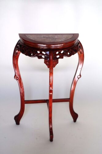 Vintage  Hand Carved French Pink Marble Top Hall Foyer Console Mahogany  Stand<br/>Post-1950 - 156316