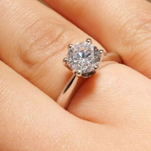 1.5 CT ROUND CUT DIAMOND SOLITAIRE ENGAGEMENT RING 18K WHITE GOLD ENHANCED 7 <br/> This is a life-time ring with an eternal charm