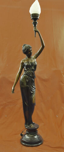 Signed &quot;Moreau&quot; gorgeous bronze statue lamp, glass, absolutely stunning!! DB<br/>Reproduction Antiques - 22608