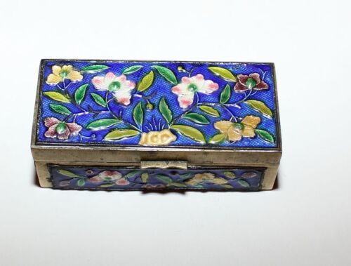 Vintage Chinese Cloisonne Brass Enamel Stamp Box&nbsp;<br/>Boxes - 37922