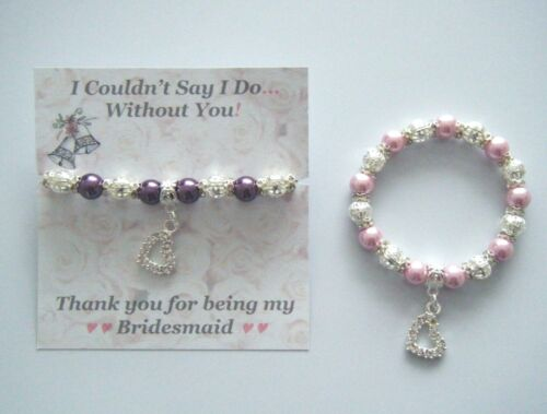 I COULDN'T SAY I DO WITHOUT YOU HEART CHARM PEARL BRACELET WEDDING THANK YOU