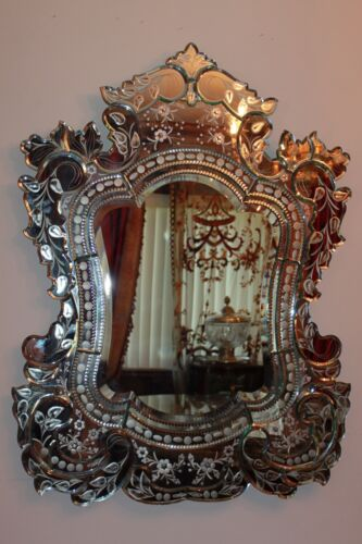 Magnificent Vintage Very Large Italy Venetian Etched Florals Wall Mirror<br/>Mirrors - 20089