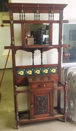 Beautiful Antique Hall Tree Stand  With Mirror And Tile Decoration Circa 1870<br/>1800-1899 - 162901