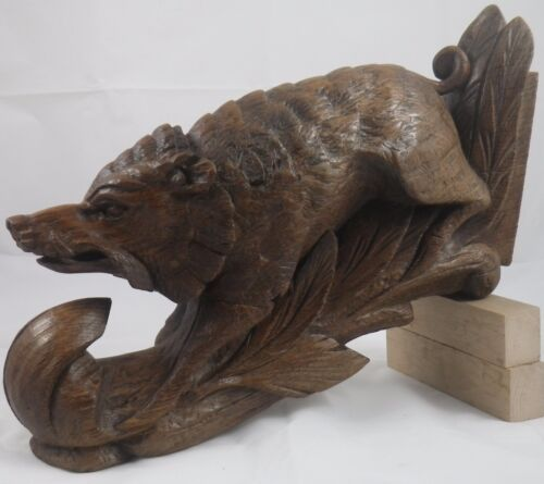 antique architectural french carved wood of oak Wild boar furniture black forest