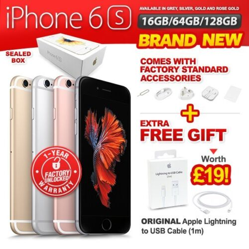 New &amp; Sealed Factory Unlocked APPLE iPhone 6S 16 64 128GB Rose Gold Grey Silver <br/> Free Gift &pound;19! New with 1 Year Warranty
