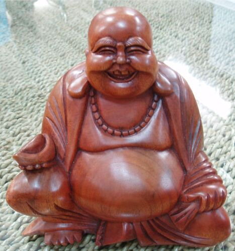 LAUGHING HAPPY BUDDHA HARD WOOD CARVED STATUE FENG SHUI BALI BALINESE 12CM