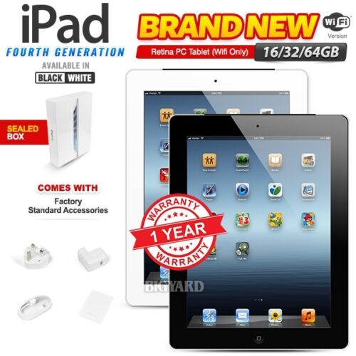 New&amp;Sealed APPLE iPad 4th Gen Black White 16 32 64GB Retina PC Tablet WiFi Only <br/> New with 1 Year Warranty!