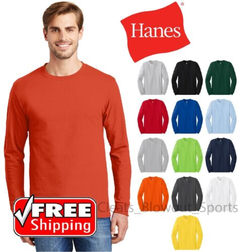 Hanes Tagless Long Sleeve T-Shirt Comfort Cotton Soft Plain Blank Tee Mens 5586 <br/> BUY 3, GET 1 FREE! FREE SHIPPING! (Must add 4 to cart)