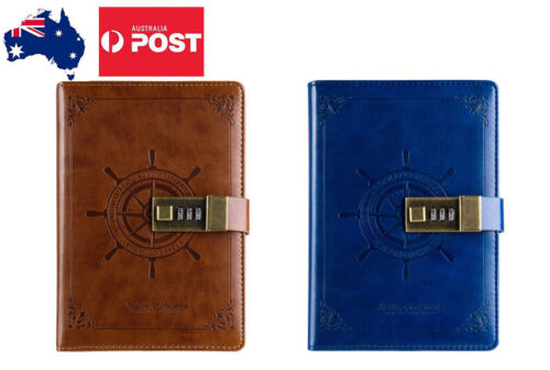 B6 Rudder Leather Vintage password Lock Notebook Diary JOURNAL Express