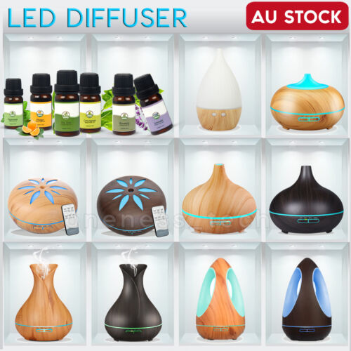 Essential Oil LED Ultrasonic Aroma Aromatherapy Diffuser Air Humidifier Purifier <br/> NEW ARRIVAL~! 210-550ml~! FREE SHIPPING~! AU STOCK